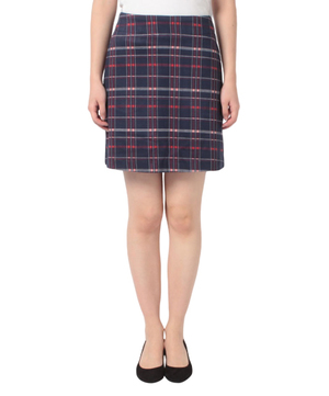 ジャージーチェック台形ミニスカート