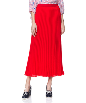 ソリッドカラーロングプリーツスカート