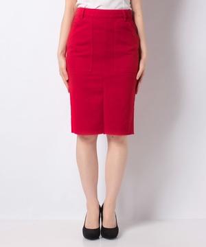バックポケット刺繍ミディカットオフタイトスカート