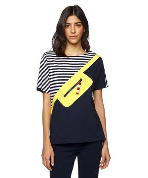 ボーダー配色ポケットディテール半袖Tシャツ・カットソー