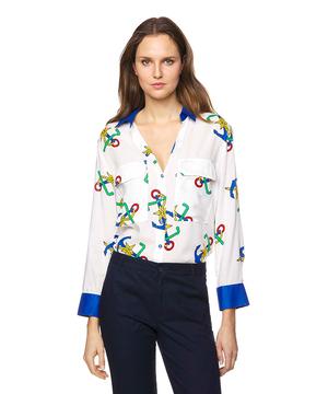 アンカープリントオーバーサイズ襟配色シャツ・ブラウス