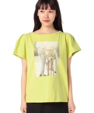 コットンデザインスリーブプリント半袖Tシャツ・カットソー