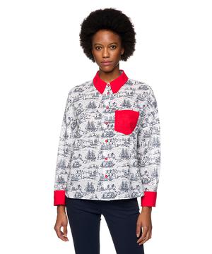 【Popeyeコラボ】ポパイ柄襟配色シャツ・ブラウス