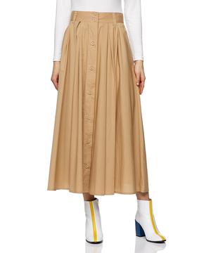 ポプリンフロントボタンフレアロングスカート