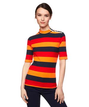 サイドボタンボーダーテレコハイネック半袖Tシャツ・カットソー