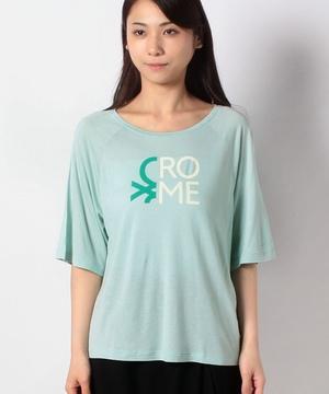 ロゴプリントドルマン半袖Tシャツ・カットソー