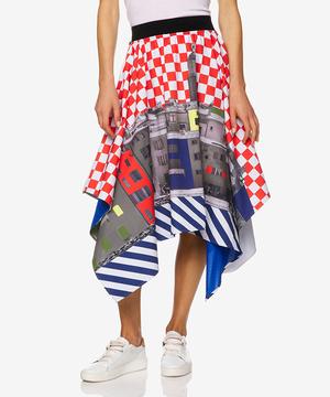総柄変形デザインミディスカート