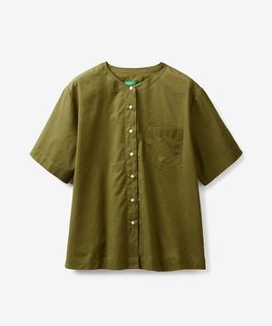 コットン半袖ノーカラーシャツ・ブラウス