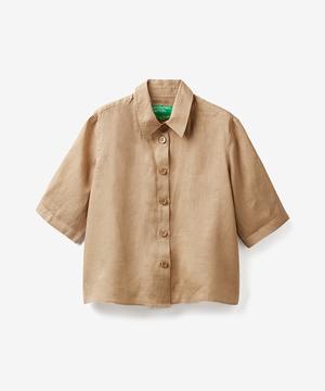 リネンビッグボタン半袖シャツ・ブラウス