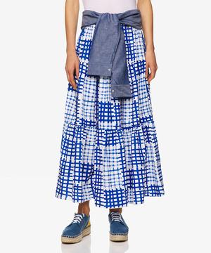 シャツベルト付きウエストゴム総柄プリントロングスカート