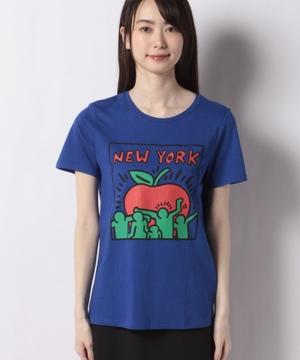 【キース・ヘリングコラボ】コットンモチーフプリント半袖Tシャツ・カットソー