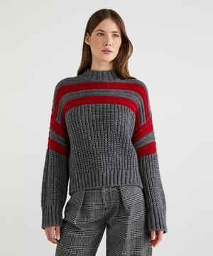 ライン入りローゲージ短丈ニット・セーター
