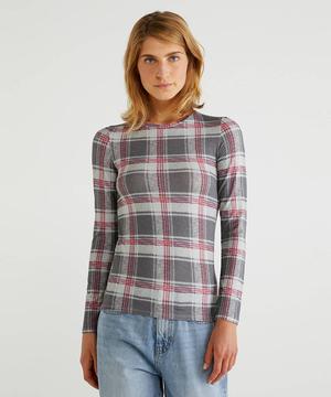ストレッチ総柄長袖Tシャツ・カットソー