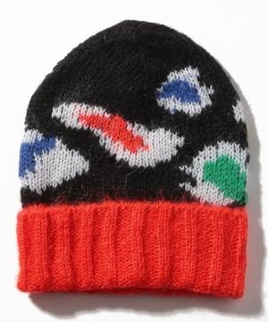 モヘア混ビッグレオパードニットワッチキャップ・ニット帽