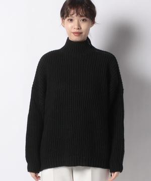 ローゲージネックジップ畦編みオーバーサイズニット・セーター