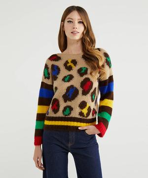 モヘア混袖配色レオパード柄ボートネックニット・セーター