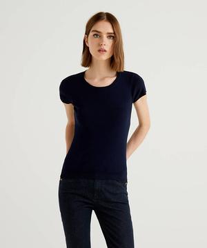 クルーネック半袖ニット・セーター