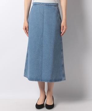 ポケット付きミディアム丈デニムスカート