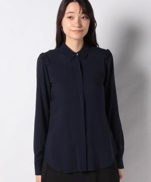 リヨセルフリル付きフルイドシャツ・ブラウス