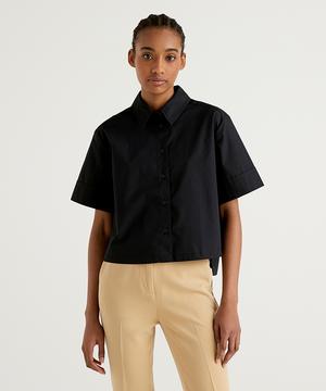 コットンボックス型アシンメトリーヘム半袖シャツ