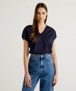 コットンVネックフレンチスリーブTシャツ・カットソー