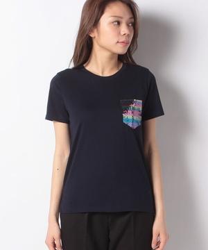 ラウンドネックスパンコールポケット付きTシャツ・カットソー