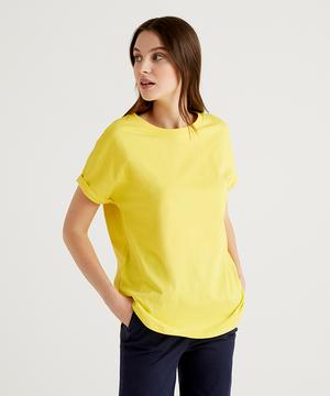 コットンラウンドヘムスライドスリット半袖Tシャツ