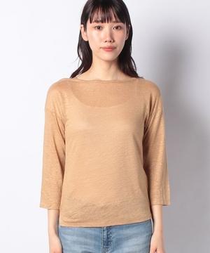 リネンボートネック7分袖カットソー・Tシャツ