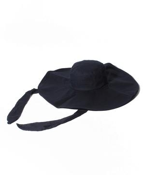 ネックリボン付きつば広ハット・帽子