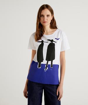 ブルーモチーフラウンドネックTシャツ・カットソー