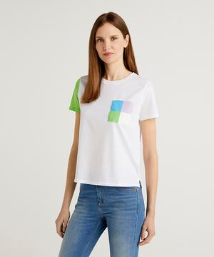 ラウンドネックパステルカラーブロックTシャツ・カットソー