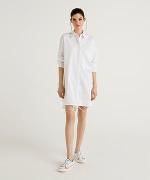 ヘムドロスト付きシャツ型ワンピース
