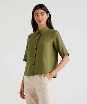 ビッグボタン半袖リネンシャツ・ブラウス
