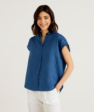 リネンフレンチスリーブポケット付きシャツ・ブラウス
