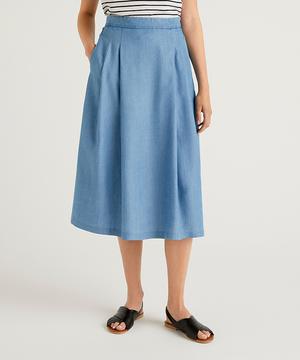 テンセルデニムひざ丈スカート