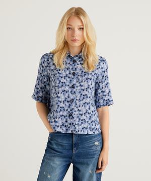 リネン総柄半袖シャツ