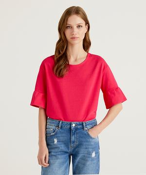 袖フリル半袖Tシャツ・カットソー