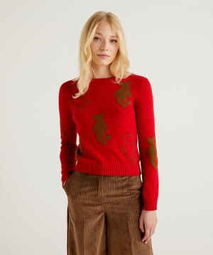 ウール混テディ刺繍ラウンドネックニット・セーター