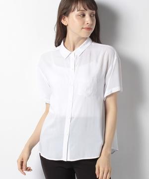 ポケット付きフレンチスリーブ半袖シャツ・ブラウス