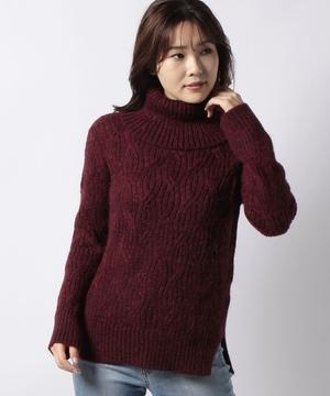 ウール混オーバル風編みタートルネックニット・セーター