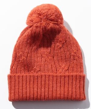 ウール混オーバル風編みポンポンニット帽・ワッチキャップ