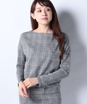 【セットアップ対応商品】千鳥編みボートネックニット織り長袖カットソー