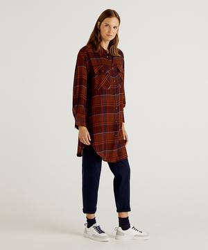 ウール混長袖ロングシャツ・ブラウス