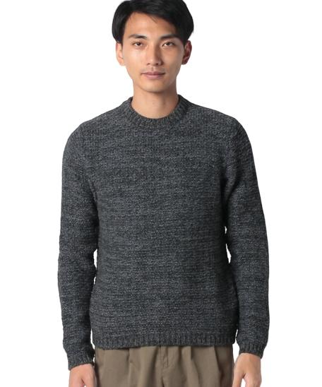 メランジ柄ラウンドネックニット・セーター