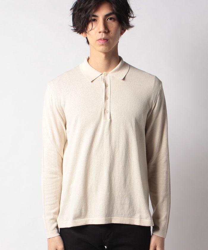 長袖ニットポロシャツ
