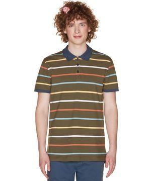 カラーミックス総柄ボーダーポロシャツ