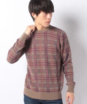 チェックニット・セーター