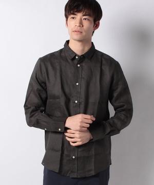 長袖レギュラーカラーリネンシャツ