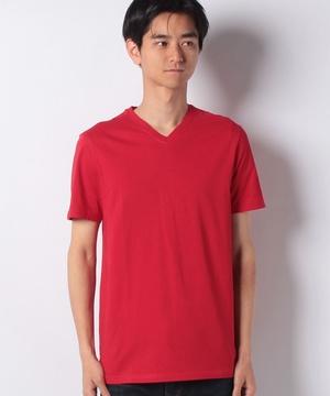 コットンカラー半袖VネックTシャツ・カットソー