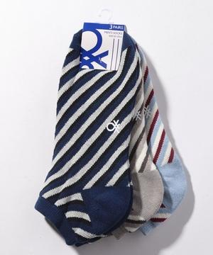 メンズ斜めストライプSソックス・靴下3足セット